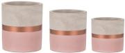 Conjunto 3 Vasos Rosa e cobre em cimento Mart