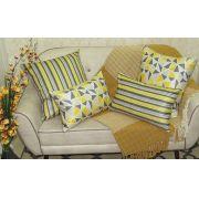 Conjunto 4 Capas almofadas Lyon Veludo quadradas/retangulares estampadas Amarelo e Cinza 43 x 43 cm e  30 x 50 cm