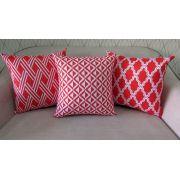 Conjunto com 3 Capas para Almofadas SOFT Geométrico Vermelho