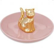 Porta Bijoux Gato Dourado Mart em Cerâmica 8940 Mart