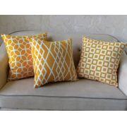 Trio de Capas para Almofada SOFT Turim Geométrico Amarelo