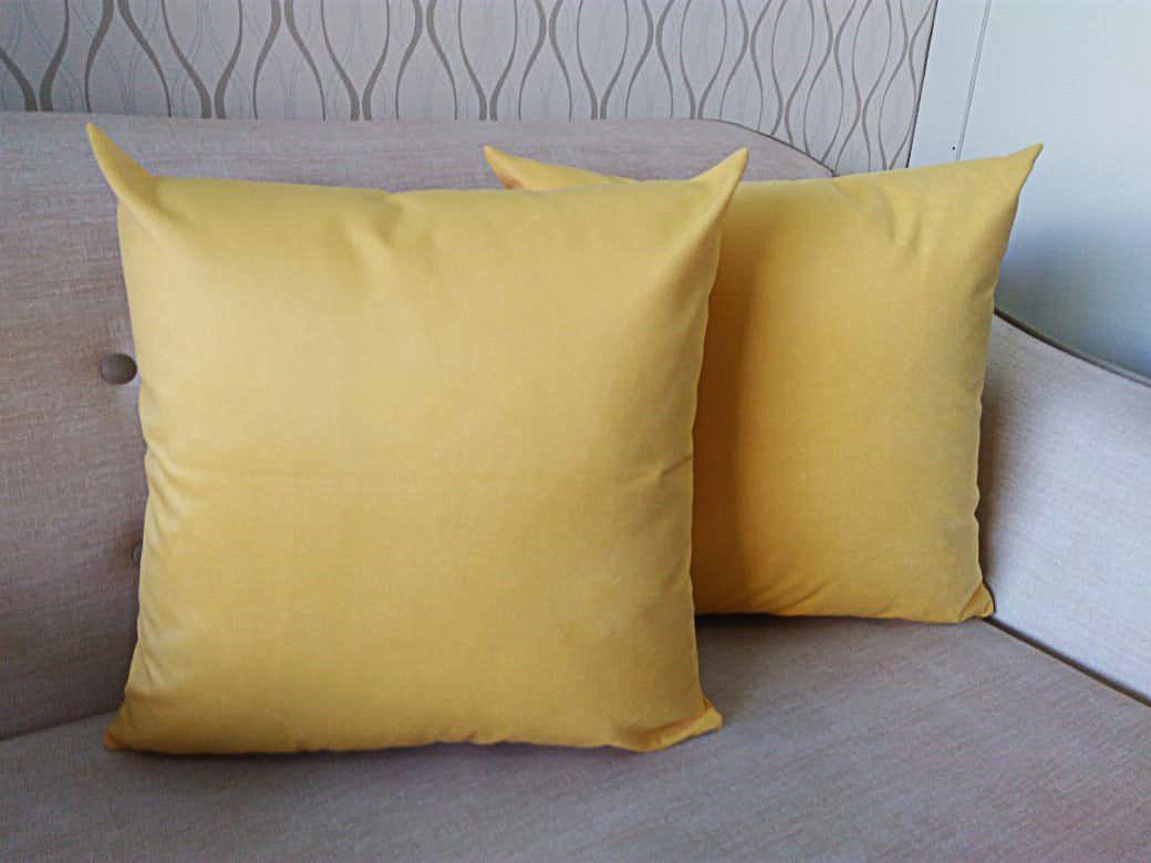 2 Capas Almofada Suede Lisa Amarelo 50x50cm