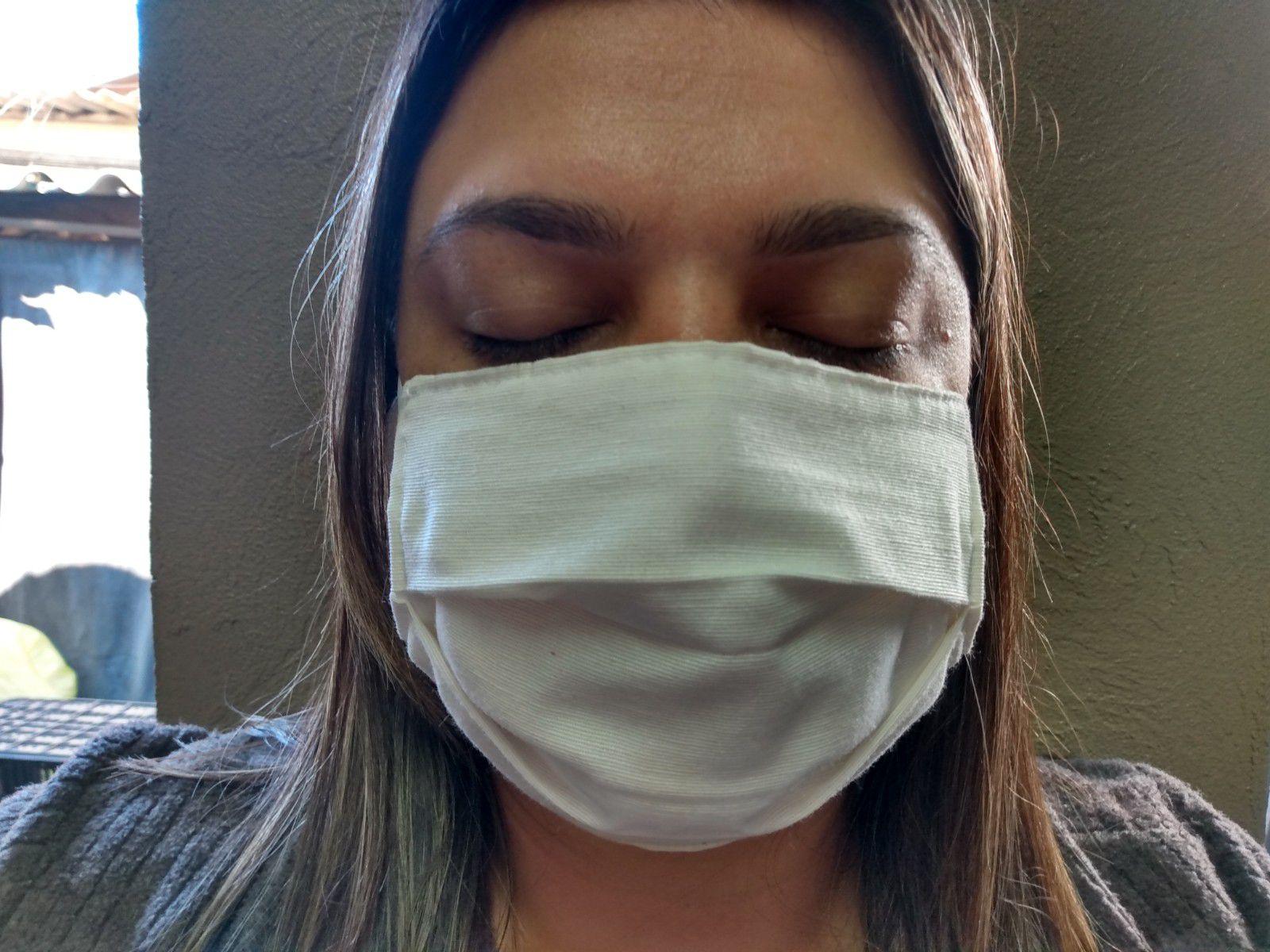 3 Máscaras Cor cru de Tecido Lavável antimicrobial