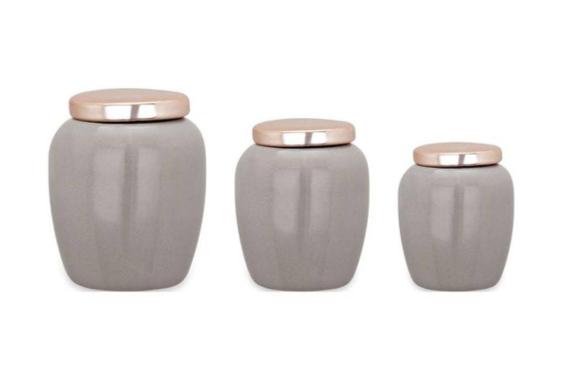 3 Potes de Cerâmica Cinza e Rosê gold 8946 Mart