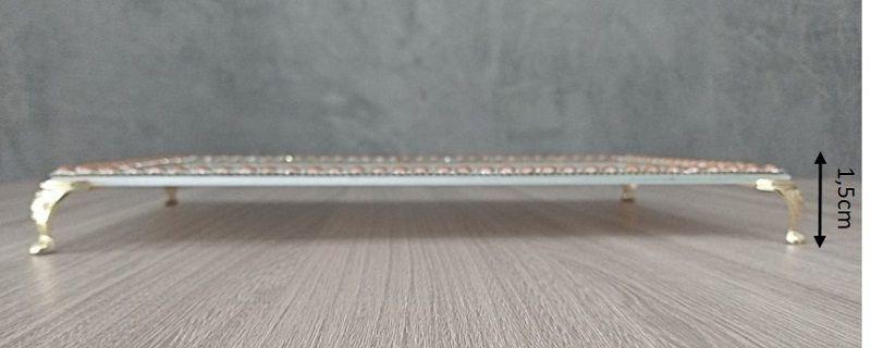 Bandeja Decorativa Azul Claro com detalhes em pedras rosé e strass - 25x16x1,5cm
