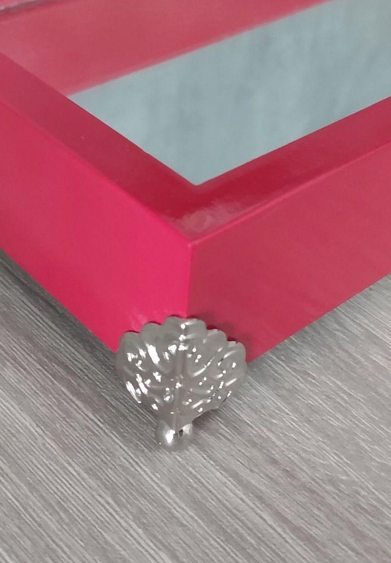 Bandeja Decorativa espelhada, Vermelho - 27x17x5,5cm