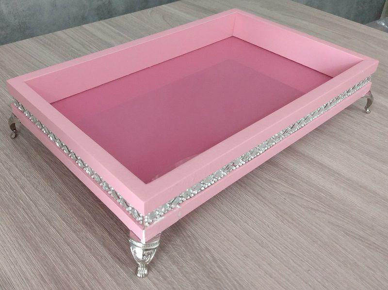 Bandeja Decorativa Rosa- 27x17x5,5cm
