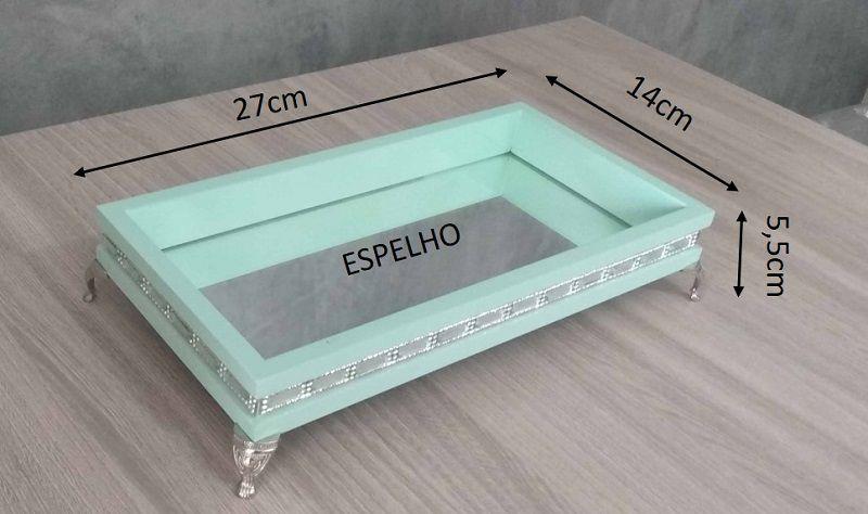 Bandeja Decorativa Verde Menta com espelho e detalhes em strass 27x14x5,5cm