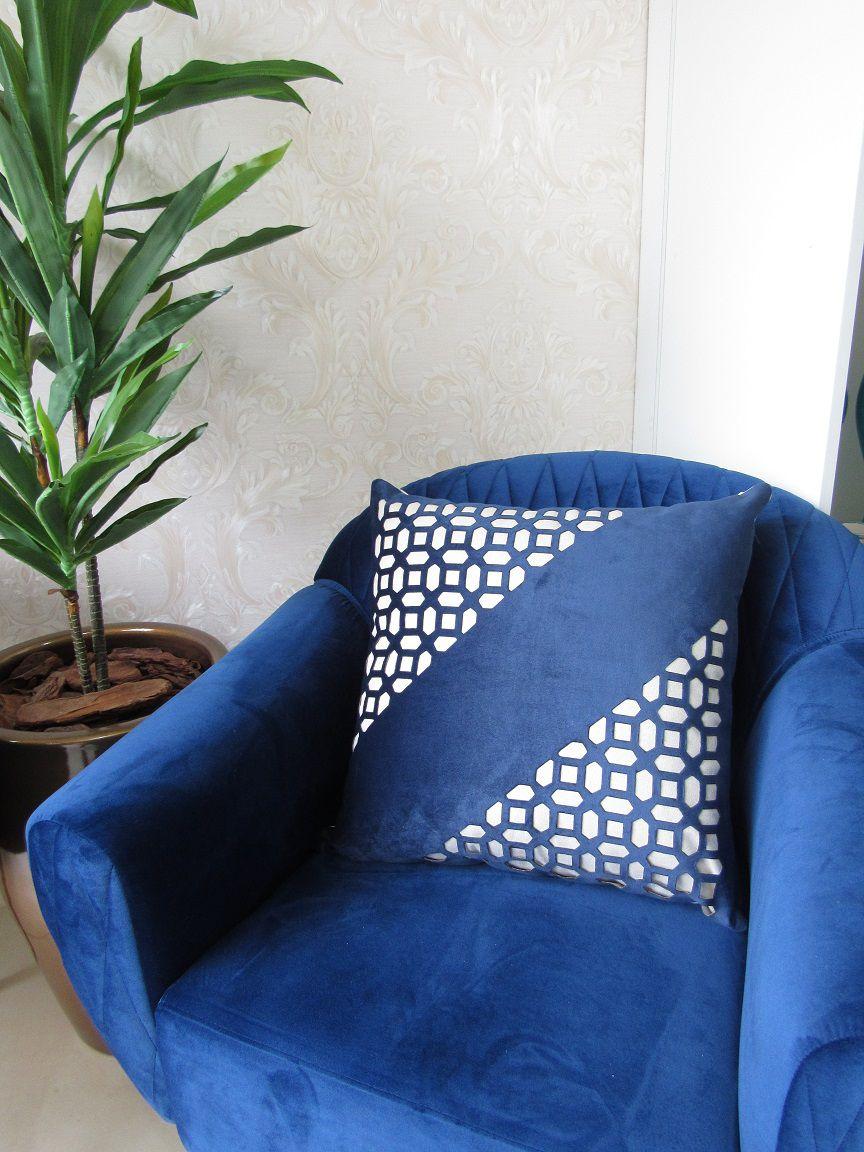 Capa Almofada Corte a Laser Provence Vitral Azul 50x50cm