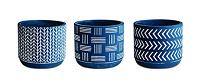 Conjunto 3 Cachepots azul em cimento 10452 Mart