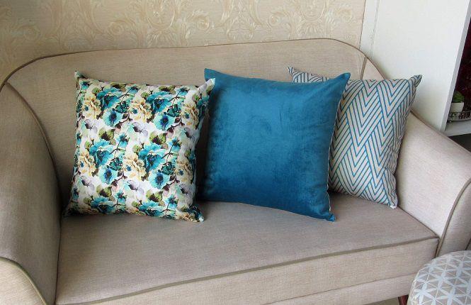 Conjunto 3 Capas almofadas Lyon Veludo Azul Pavão 50x50cm