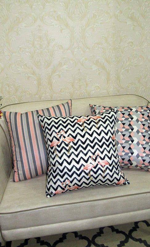 Conjunto 3 Capas almofadas Lyon Veludo estampadas Rosa e Cinza 50x50cm