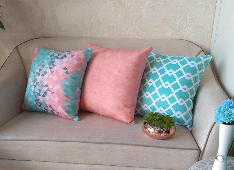 Conjunto 3 Capas almofadas Lyon Veludo estampadas Rosa e Turquesa 50x50cm