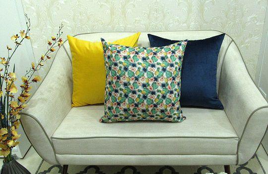 Conjunto 3 Capas almofadas Lyon Veludo  Amarelo e Azul (Tropical) 43x43cm