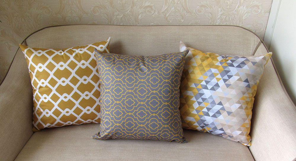 Conjunto 3 Capas almofadas Lyon Veludo Amarelo e Cinza 43x43cm