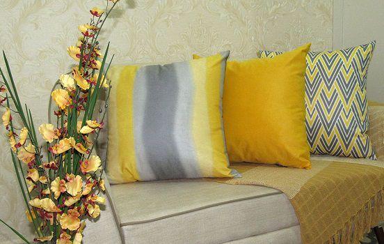 Conjunto 3 Capas almofadas Lyon Veludo estampadas Amarelo e Cinza 43x43cm