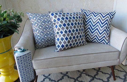 Conjunto 3 Capas almofadas Lyon Veludo estampadas Azul e cinza 43x43 cm