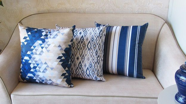 Conjunto 3 Capas almofadas Lyon Veludo quadradas estampadas Azul 43 x 43 cm