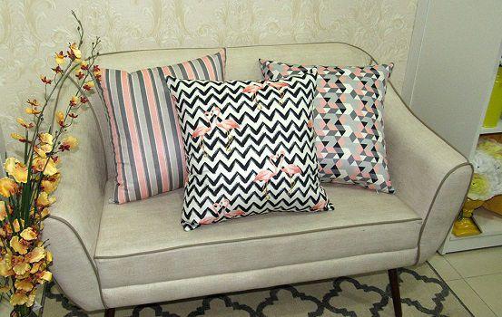 Conjunto 3 Capas almofadas Lyon Veludo quadradas estampadas Rosa e Cinza 43 x 43 cm