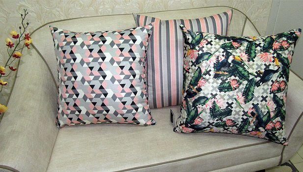 Conjunto 3 Capas almofadas Lyon Veludo estampadas Rosa e Cinza 43x43cm