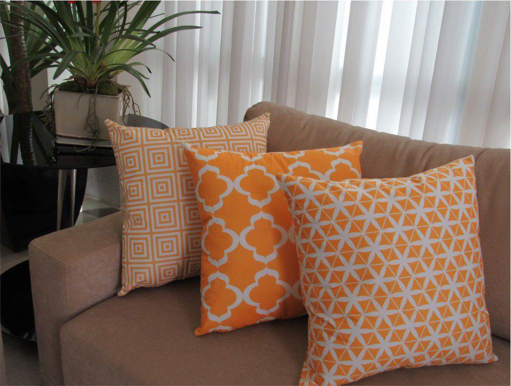 Conjunto 3 Capas para Almofadas Confort Veludo Geométrico Amarelo 50x50cm