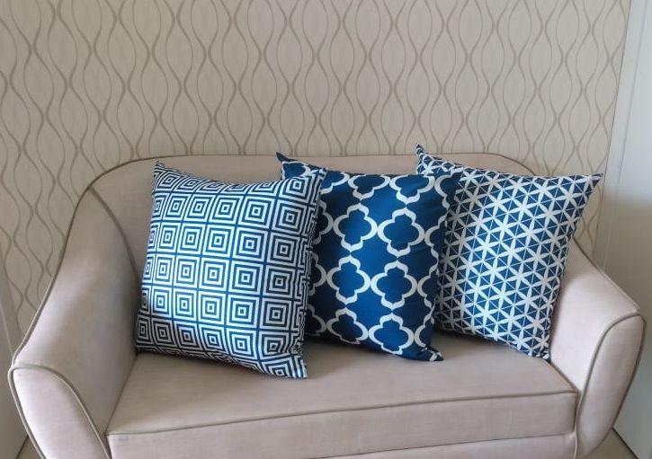 Conjunto 3 Capas para Almofadas Confort Veludo Geométrico Azul 50x50cm