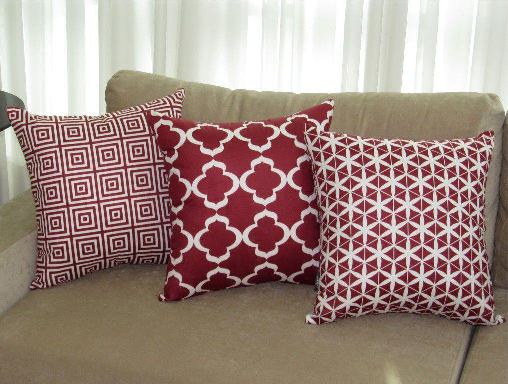 Conjunto 3 Capas para Almofadas Confort Veludo Geométrico Marsala 50x50cm