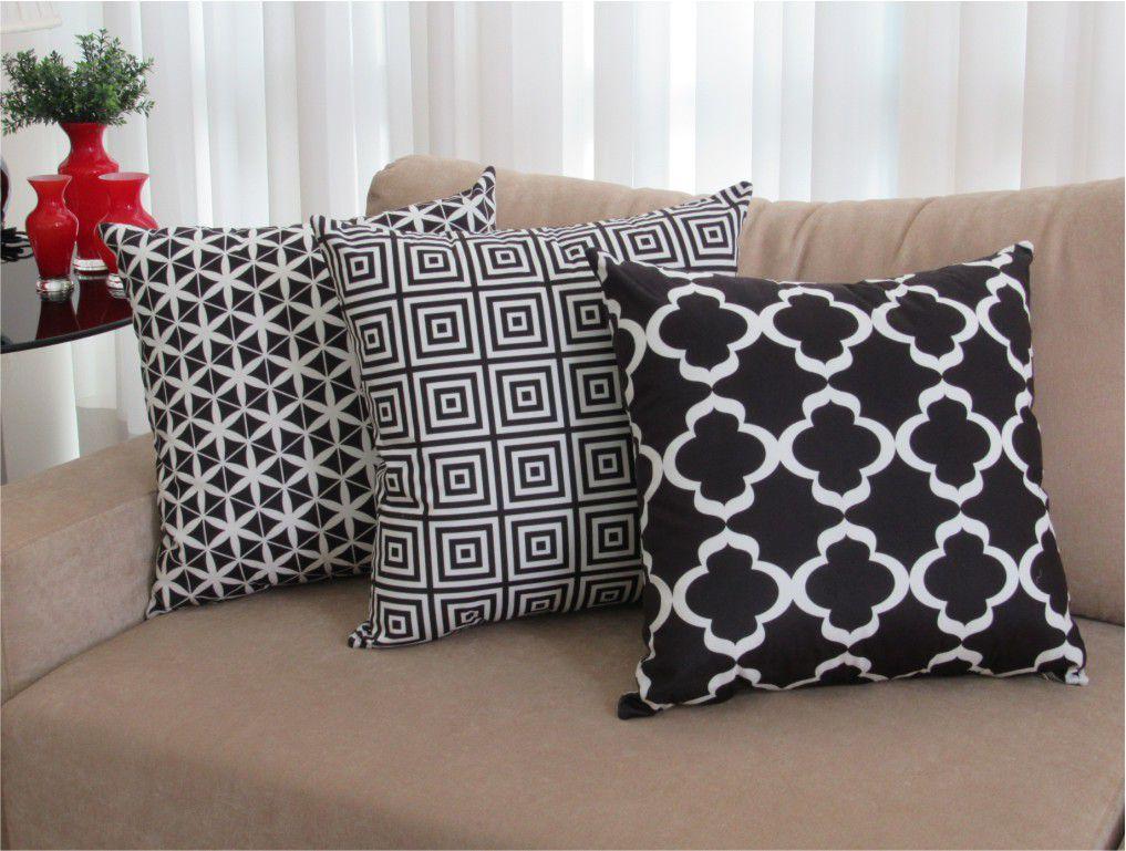 Conjunto 3 Capas para Almofadas Confort Veludo Geométrico Preto 50x50cm