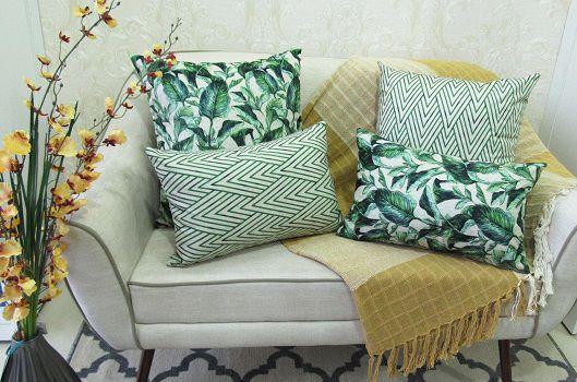 Conjunto 4 Capas almofadas Lyon Veludo quadradas/retangulares estampadas Verde 43 x 43 cm e 30 x 50 cm