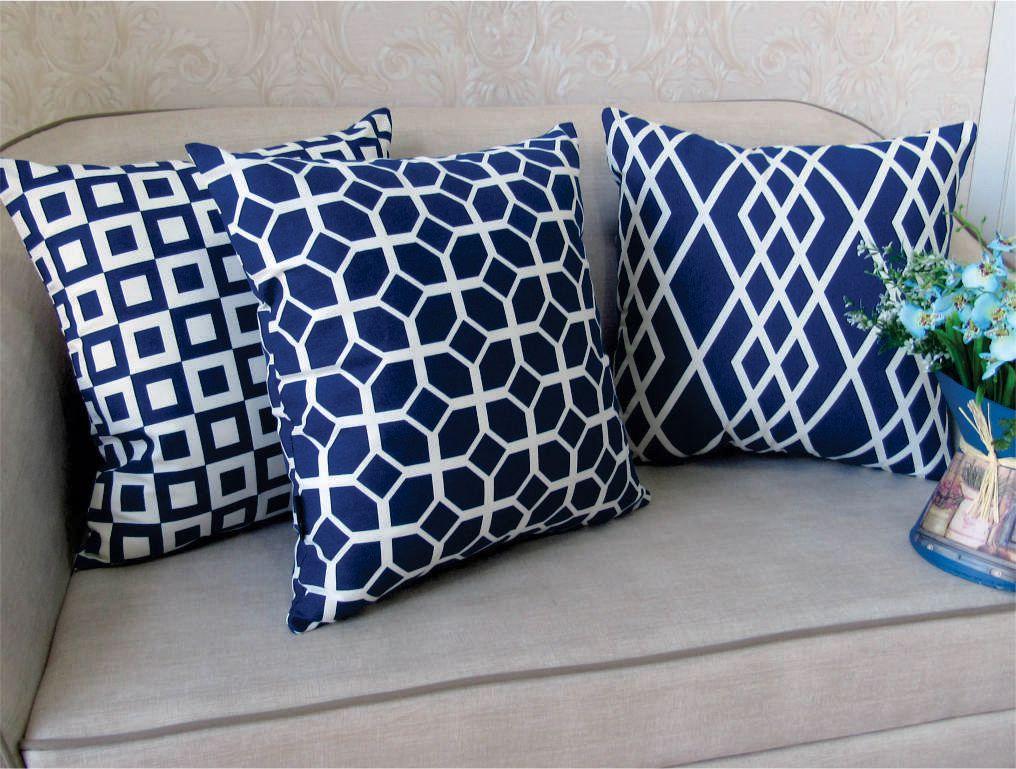 Trio de Capas para Almofada Soft Turim Geométrico Azul marinho