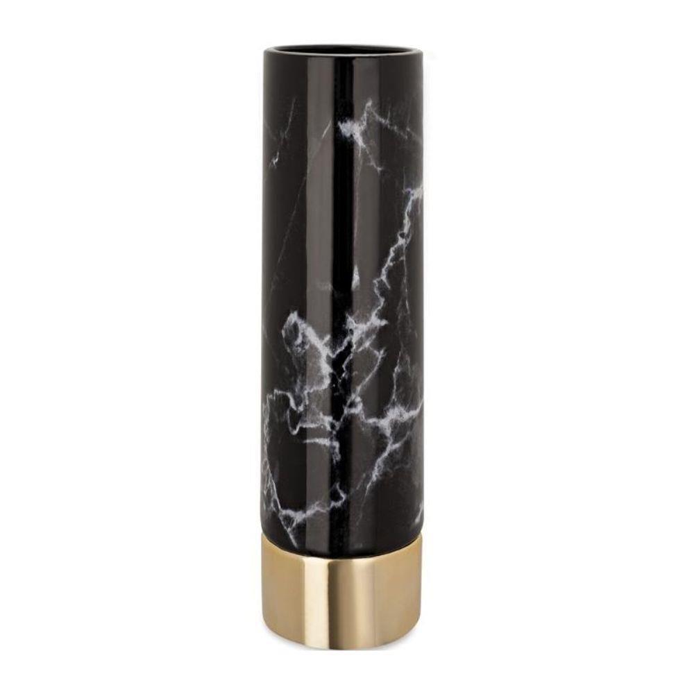 Vaso de Cerâmica Mármore Negro 33cm 9046 Mart