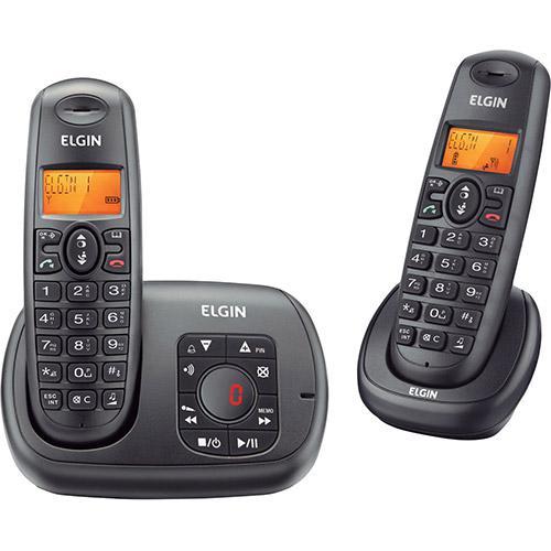 Telefone sem Fio com Ramal Elgin Preto TSF 702SE com Secretária Eletrônica e Identificador de Chamada