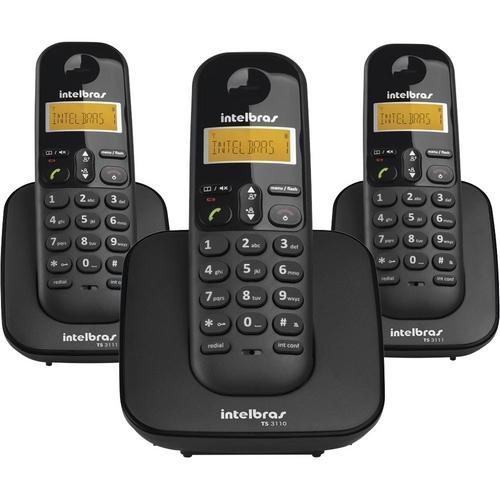 Telefone Sem Fio Intelbras Ts3113 Com Identificador De Chamadas 2 Ramais - Preto
