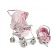Carrinho Berço-Passeio com Bebê Conforto Milano Reversível II Rosa Bebê - Galzerano