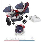 Carrinho de Bebê Doppio (Gêmeos) Jeans/Vermelho + 2 Bebê Conforto + 2 Bases - Galzerano