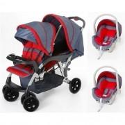Carrinho de Bebê Doppio (Gêmeos) Jeans/Vermelho + 2 Bebê Conforto - Galzerano