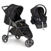 Carro de Bebê 3 Rodas Cross com Bebê conforto Black (Preto) + Base - Galzerano