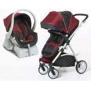 Carrinho de Passeio com Bebê Conforto Maly Vinho com Preto - Dzieco