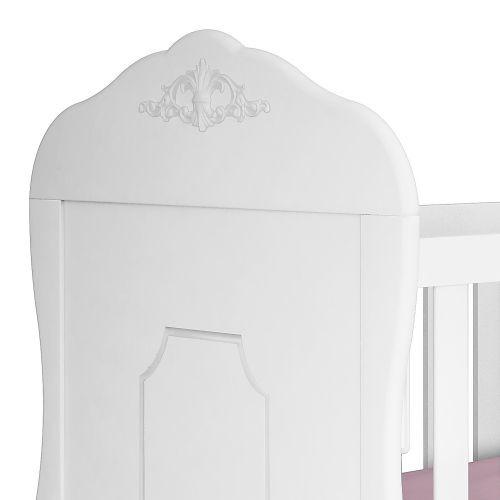 Berço Provençal Paris Branco Fosco Com Capitonê Branco - Canaã