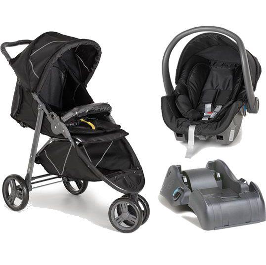 Carrinho 3 Rodas Cross com Bebê conforto Black (Preto) + Base - Galzerano