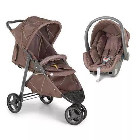Carrinho 3 Rodas Cross com Bebê conforto Chocolate - Galzerano