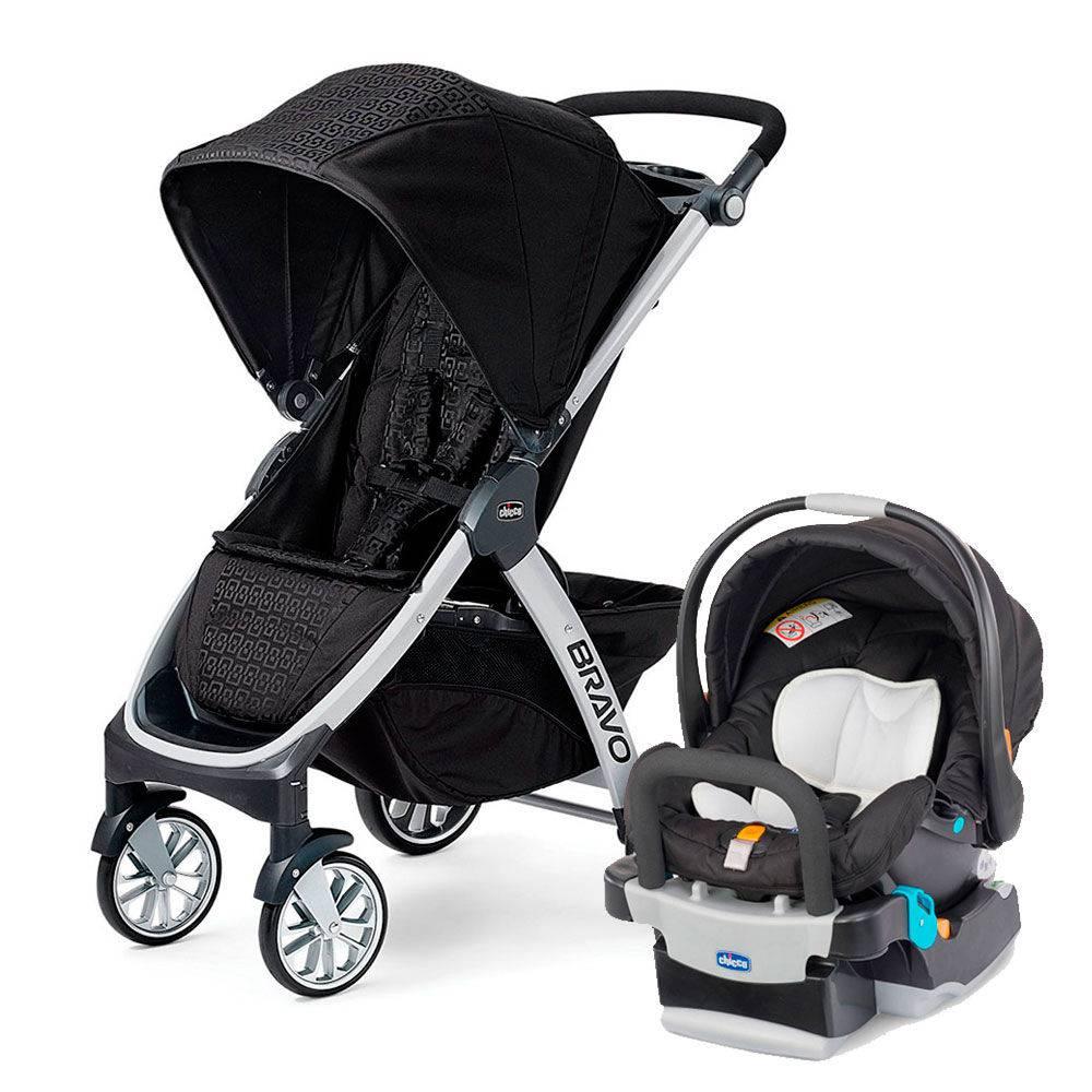 Carrinho com Bebê Bravo Ombra (Preto) + Cadeira Keyfit Night - Chicco