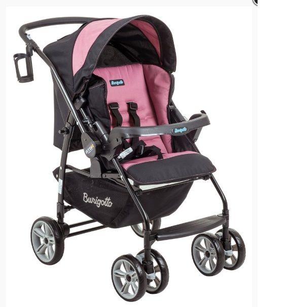 Carrinho de Bebê AT6 K com Cadeira Touring SE  Preto com Rosa - Burigotto