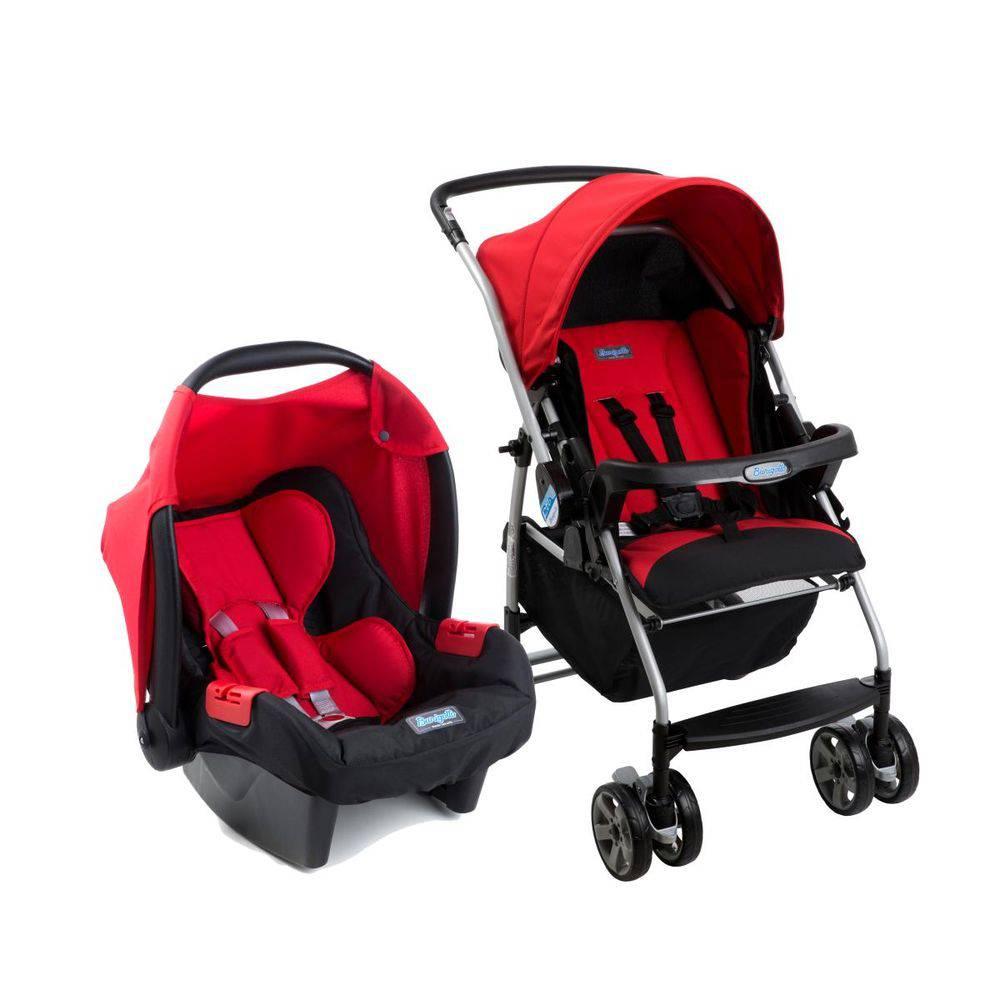Carrinho de Bebê com Bebê Conforto Rio K Vermelho - Burigotto