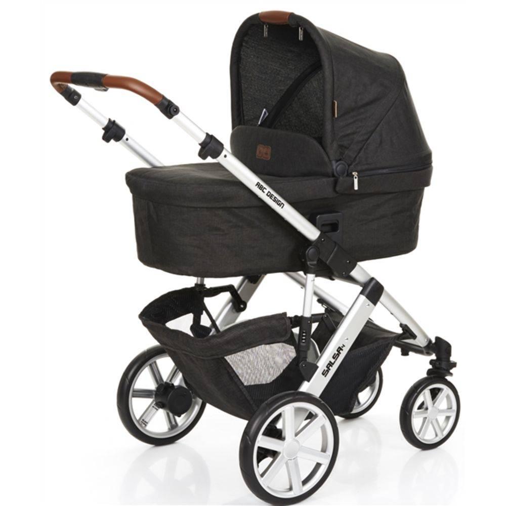 Carrinho de Bebê Salsa 4 Rodas + Moisés + Bebê Conforto Piano (Preto) - ABC Design