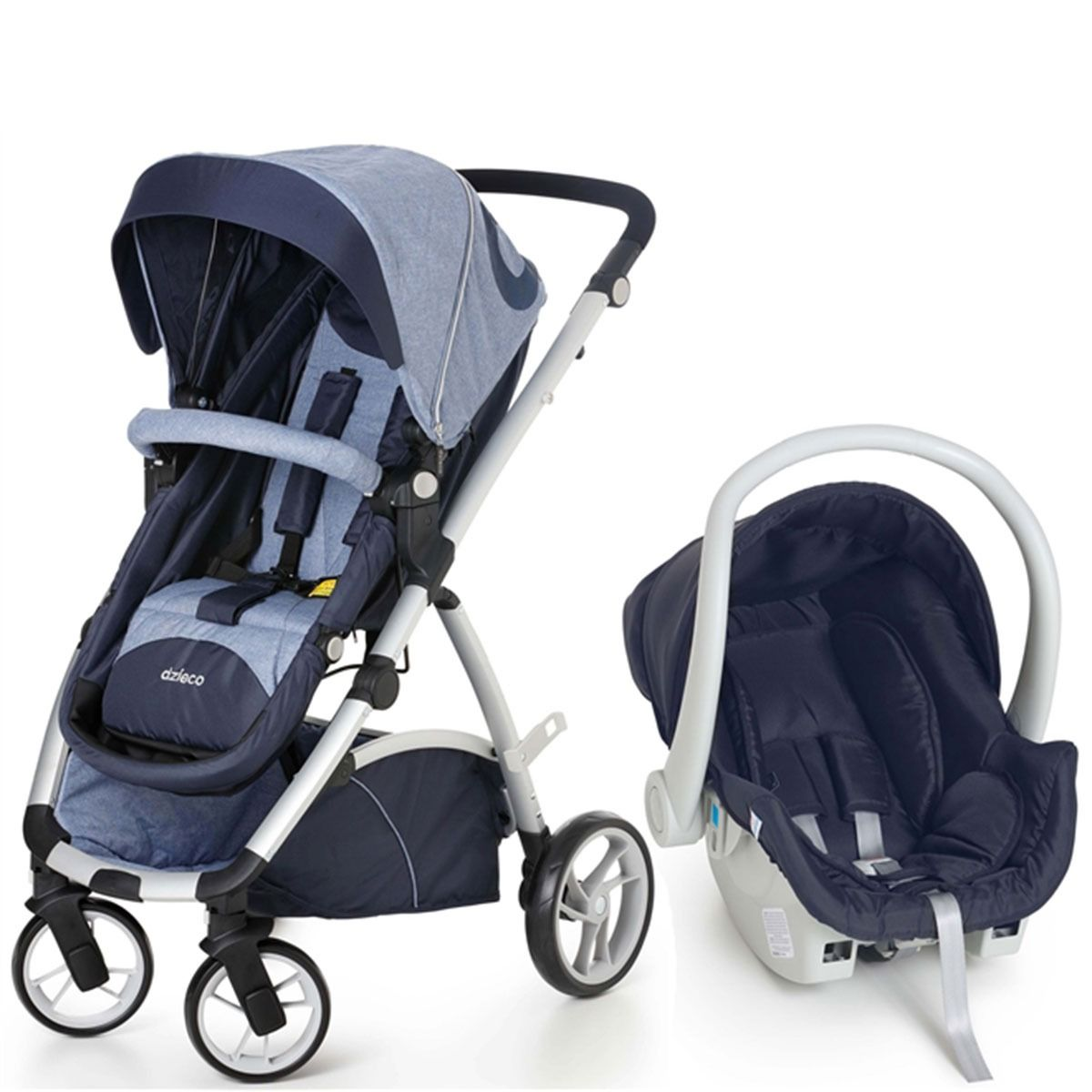 Travel System com Bebê Conforto Maly Azul Jeans II - Dzieco