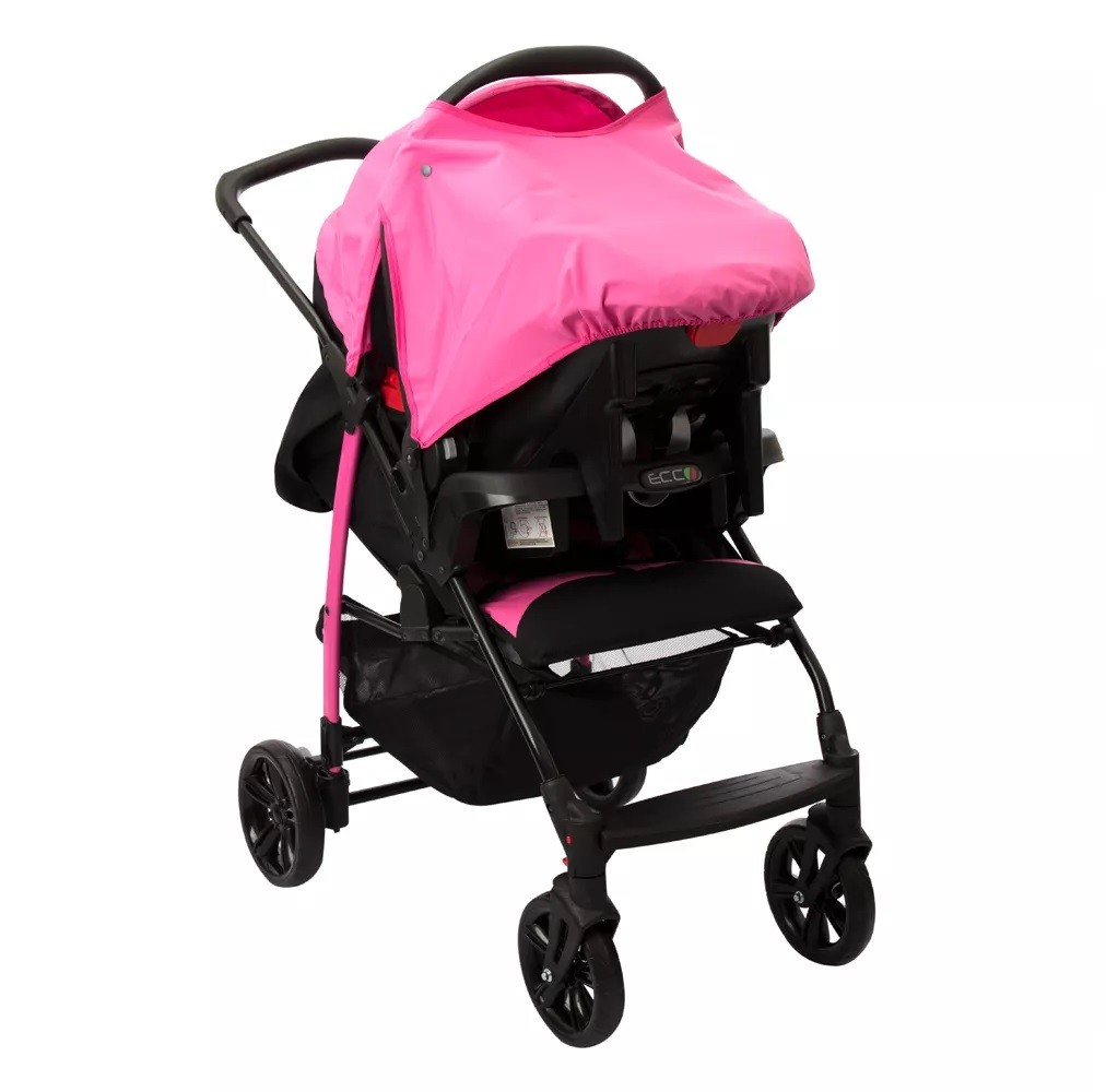 Carrinho Ecco Azaleia (Rosa) com Bebê Conforto Touring Evolution Se II + Base - Burigotto