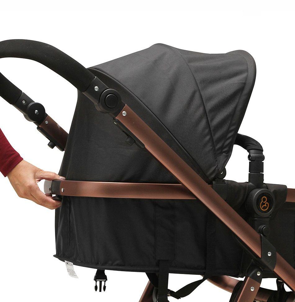 Carrinho Moisés com Bebê Conforto Tessy Cinza / Preto + Base - Galzerano
