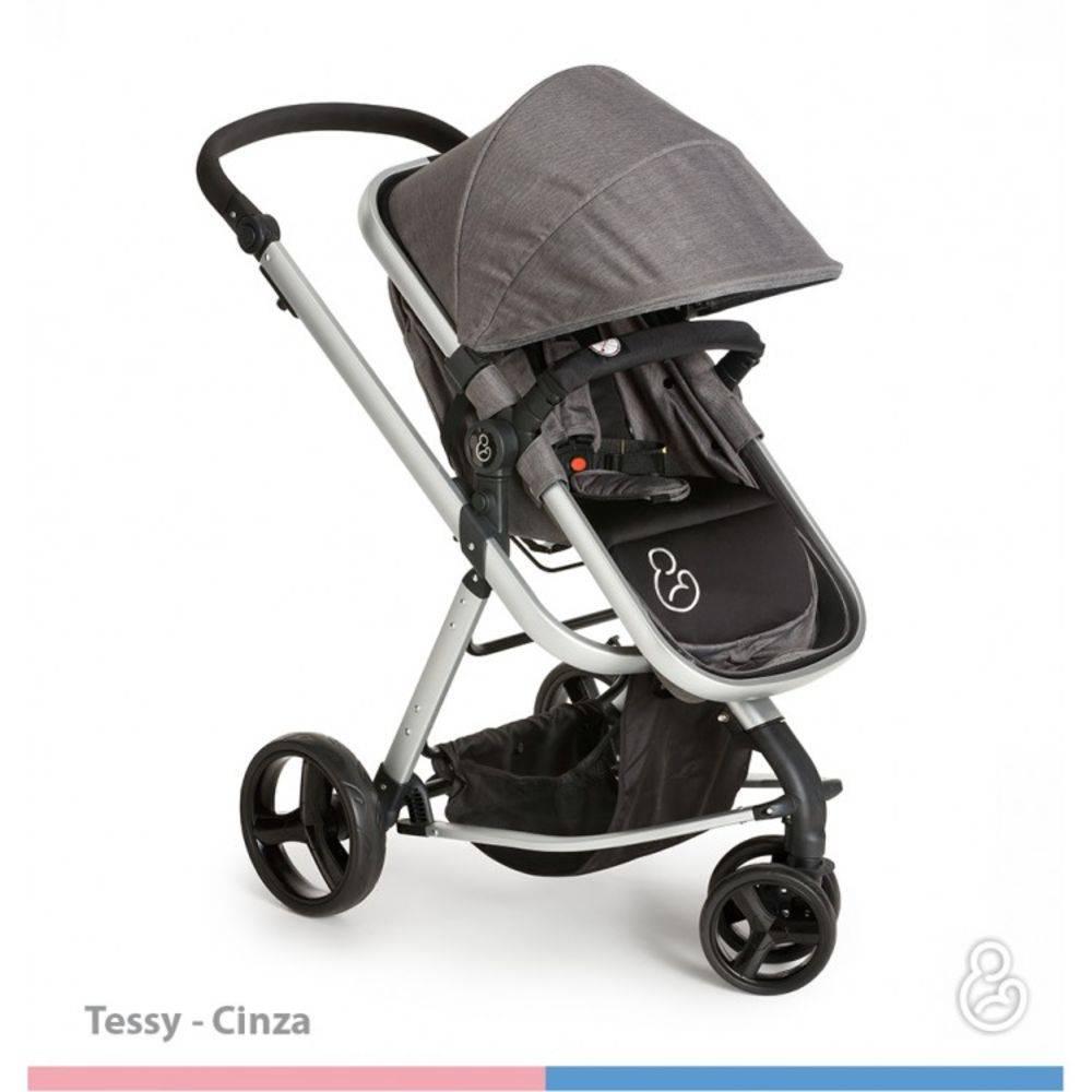 Carrinho Moisés com Bebê Conforto Tessy Cinza + Base - Galzerano