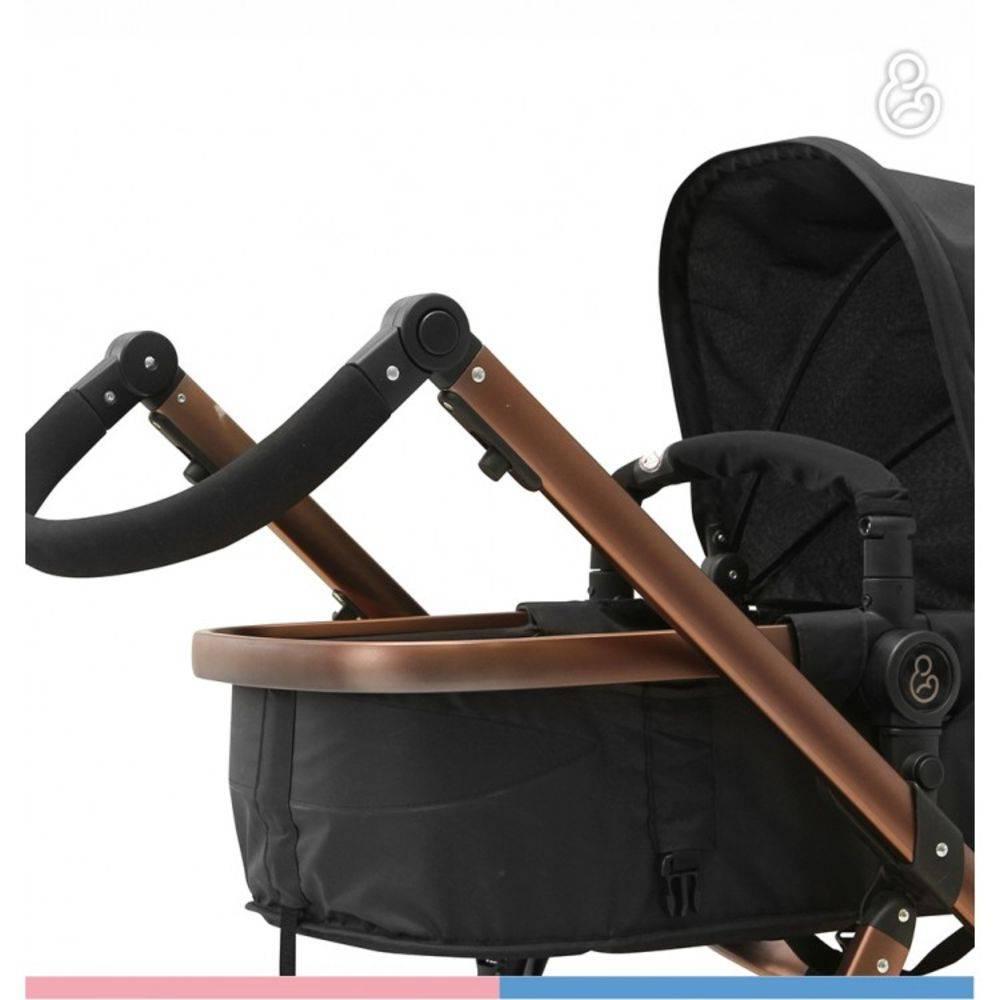 Carrinho Moisés com Bebê Conforto Tessy Preto / Cobre e Base- Galzerano